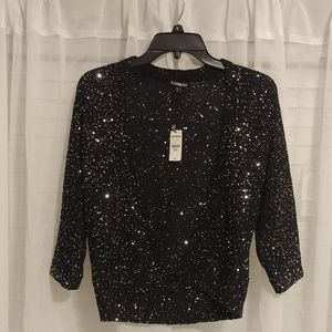 Express Black Sequin Cardigan